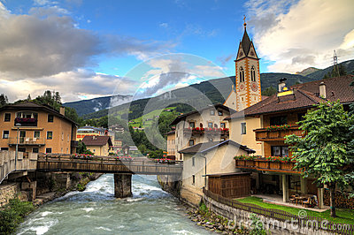 Alps river village