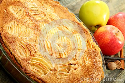 Alsatian apple pie closeup.