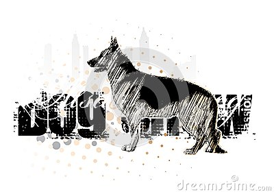 Alsatian dog on the horizontal poster