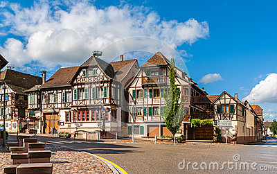 Alsatian style houses in Kintzheim, Alsace, France