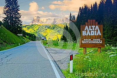 Alta Badia ski resort sign