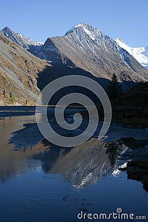 Altai mountains and lake