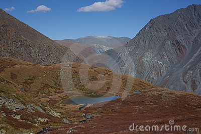 Altai mountains and lake