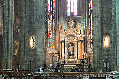 Altar of Duomo Di Milano Editorial Photography
