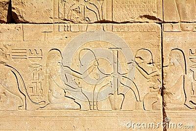 Alte ägypten bilder und hieroglyphen im luxor karnak tempel