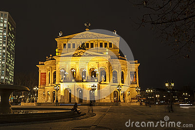 Alte Oper at night in Frankfurt am Main Editorial Stock Image