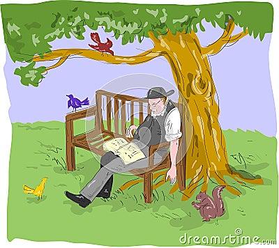 Alte Schlafenbank des älteren Mannes