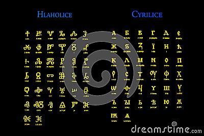 Alphabete der alten kirche glagolitic und kyrillische schrift