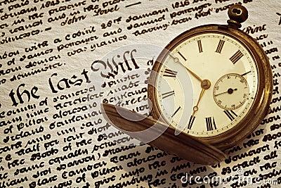 Alte Taschen-Uhr und wird