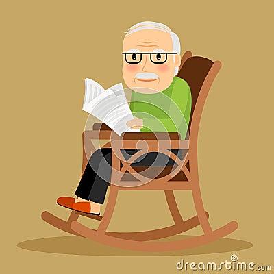 alter mann der im schaukelstuhl und in der zeitung sitzt