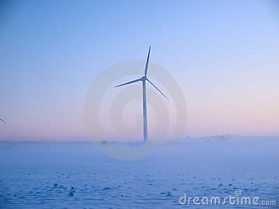 Alternative energy wind mills in the snow
