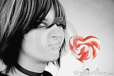 Alternative Girl with a Heart Lollipop