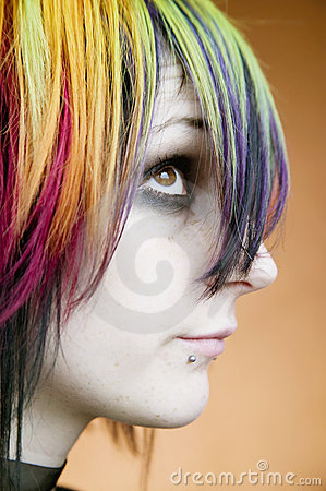 Free Alternative Girl With Multi-colred Hair Looks Up Royalty Free Stock Photography - 4245727