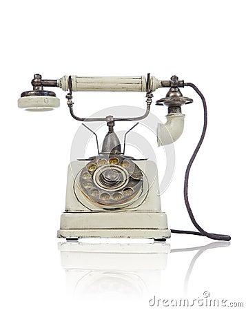 altes antikes telefon ber wei stockbilder bild 6546144. Black Bedroom Furniture Sets. Home Design Ideas