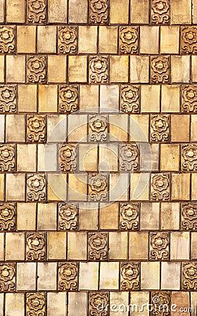 Altes keramisches mosaik auf der wand verwitterte fliesen blumenthema stockfoto bild 63545058 - Fliesen auf fliesen wand ...