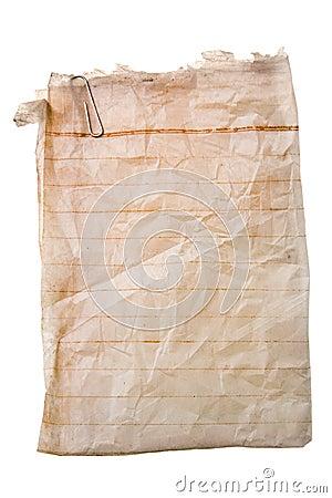 Altes Papier mit Papierklammer