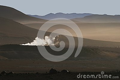 Altiplano and geyser in South-western Bolivian And