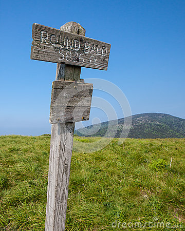 Altitude marker at Round Bald in Roan Mountain State Park
