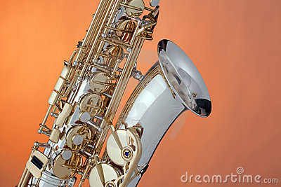 Alto Saxophone Isolated  On Orange