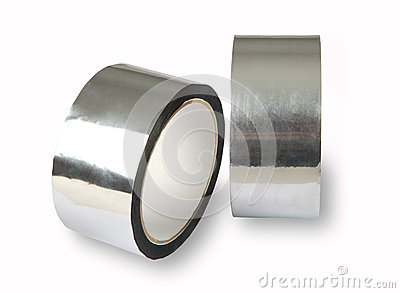 Aluminium adhesive tape, metal-foil adhesive tape,  photo of two