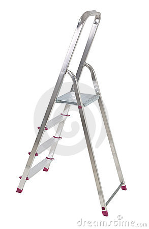Aluminium ladder on white