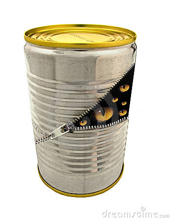 Aluminium tin can full of cats eyes