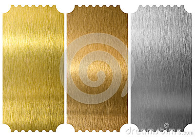 Aluminum, bronze and brass tickets isolated Stock Photo
