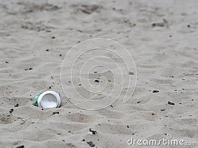Aluminum can on beach
