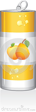 Aluminum can with fruit juice