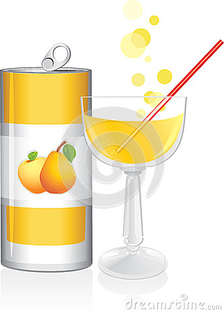 Aluminum drink can and wine glass with fruit juice