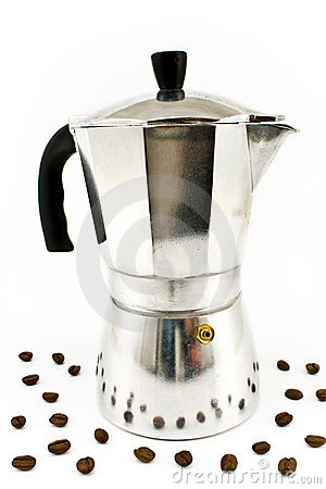 Aluminum Espresso Coffee Maker With Coffee Beans Royalty Free Stock Photos - Image: 21517798