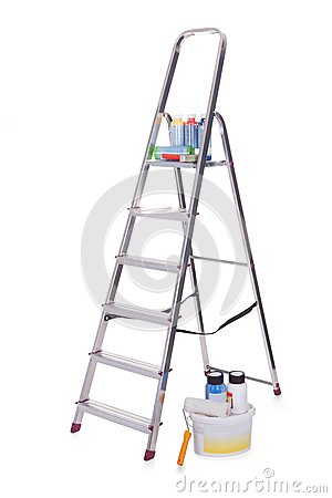 Free Aluminum Ladder And Paint Tools Stock Image - 29673941
