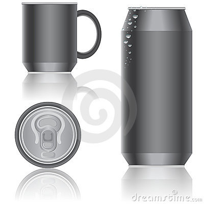 Aluminum packaging for beverages. Vector.