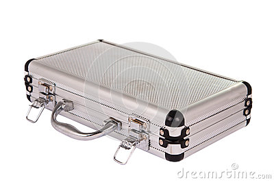Aluminum suitcase isolated