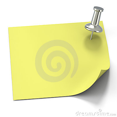 Aluminum tack with yellow post it note