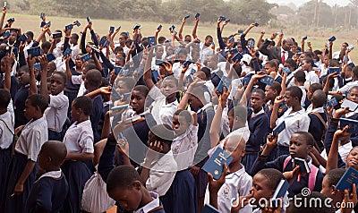 Alumnos africanos Foto editorial
