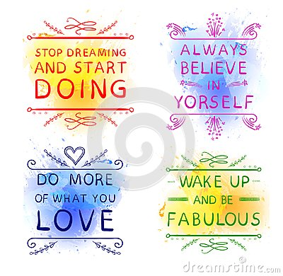 Free `Always Believe In Yourself` `Do More Of What You LOVE` `Wake Up And Be Fabulous` `Stop Dreaming And Start DOING`. Hand Stock Photos - 103980603