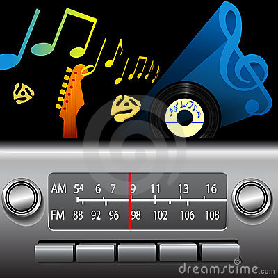 Free AM FM Drive Time Dashboard Radio Music Broadcast Royalty Free Stock Photos - 6930068
