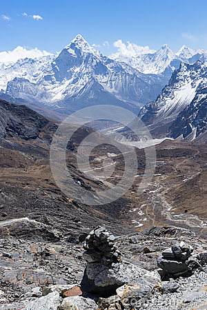 Free Ama Dablam Mountain View From Chola Pass, Everest Region Stock Photography - 85600732