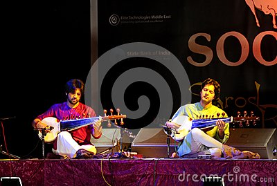 Amaan & Ayaan plays Sarod in Bahrain, Nov 2012 Editorial Image