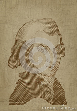 Amadeus Mozart  Caricature sepia engraving Editorial Stock Image