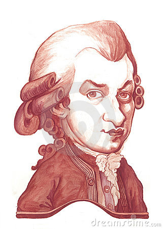 Amadeus Mozart Caricature Sketch Editorial Stock Photo