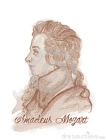 Amadeus Mozart Engraving Style Portrait Editorial Stock Image