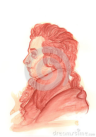 Amadeus Mozart Watercolour Portrait Editorial Stock Image