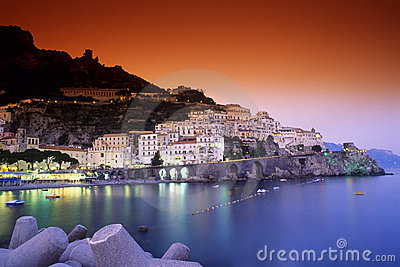Amalfi harbor night scene
