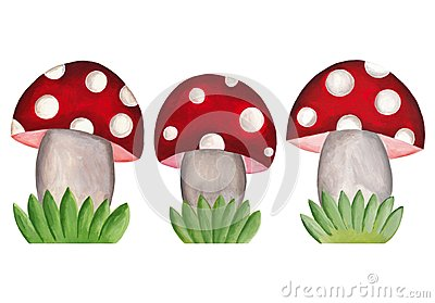 Amanita mushrooms. Set of decorative elements