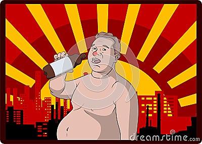 Amante gordo da cerveja