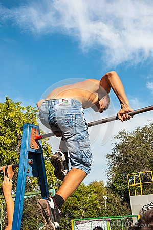 Amateur competitions of street workout Editorial Photography