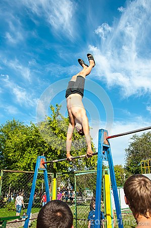 Amateur competitions of street workout Editorial Stock Image
