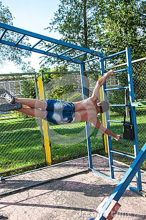 Amateur competitions of street workout Editorial Stock Photo
